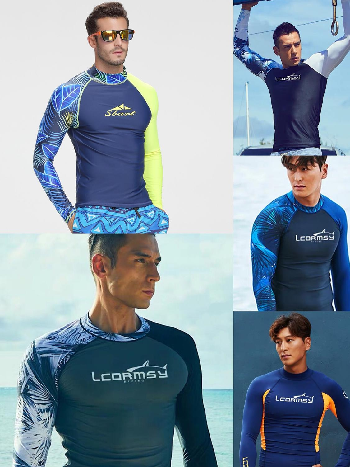 Sbart Rash Guard Men UPF 50+ Long Sleeve  Splice UV Sun Protection Basic Skins Surfing Diving Swimming T Shirt Blue Black M 3X
