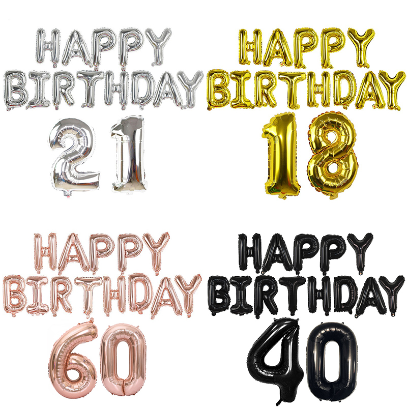 15pcs/set Happy Birthday Balloon Letter Number Foil Balloons 18 21 30 40 50 60th Adult Birthday Party Decoration Helium Ballon