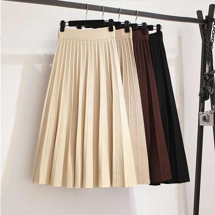 Winter Autumn 2019 Skirts Womens Solid Color Knitting Wool Pleated Long Skirt High Waist Elastic Large Hem Saia Midi Skirts