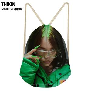 THIKIN Billie Eilish Fashion Women Drawstring Bags Hip Hop Girls String Rucksack Kids Drawstring Backpack Travel Storage Pouch