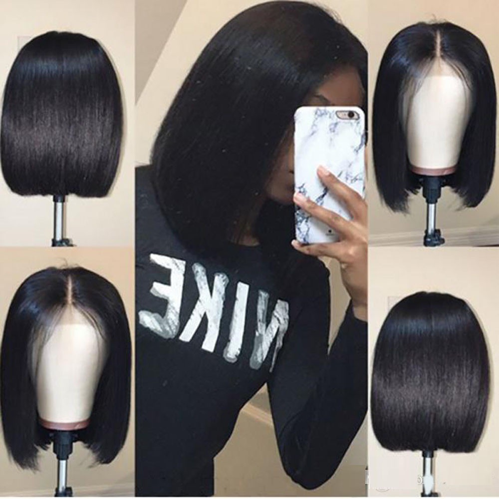 Full Lace Human Hair Wigs With Baby Hair Pre Plucked Brazilian Remy Hair Full End Straight Short Bob Wig For Black Women