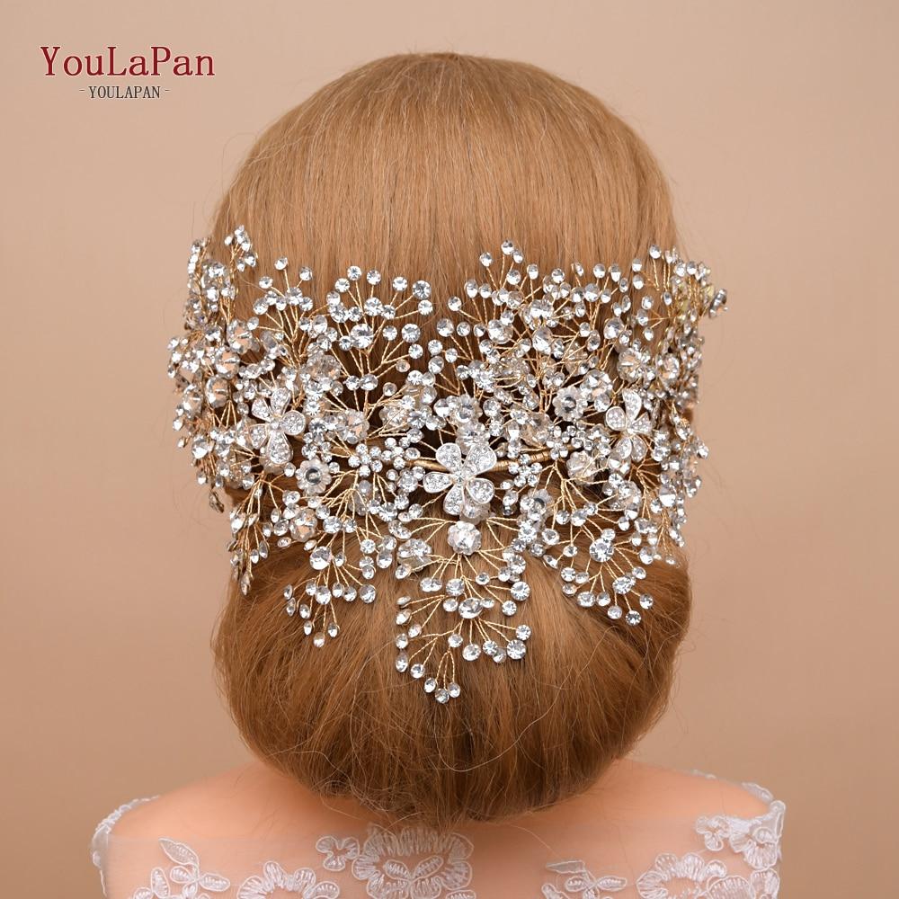 YouLaPan Golden Bride Hair Accessories Crystal Wedding Hair Jewelry Fascinator For Wedding Rhinestone Wedding Tiara HP240-G