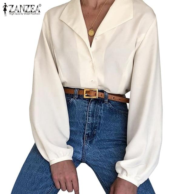 2020 ZANZEA Women's Blouse Office Lady Work Tunic Shirts Casual Long Sleeve Tops Blusas Elegant Female Solid Chemise Plus Size