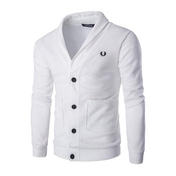цена Solid Casual Men Cardigan Sweatshirt V Neckline Regular Fit Cardigan Sweatshirt Men Long Sleeve Button Knit Cardigan Sweatshirts онлайн в 2017 году