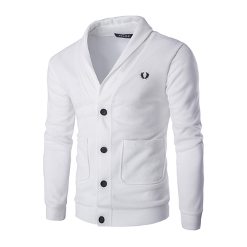 Solid Casual Men Cardigan Sweatshirt V Neckline Regular Fit Cardigan Sweatshirt Men Long Sleeve Button Knit mens Sweatshirts v neckline fluted sleeve gingham top