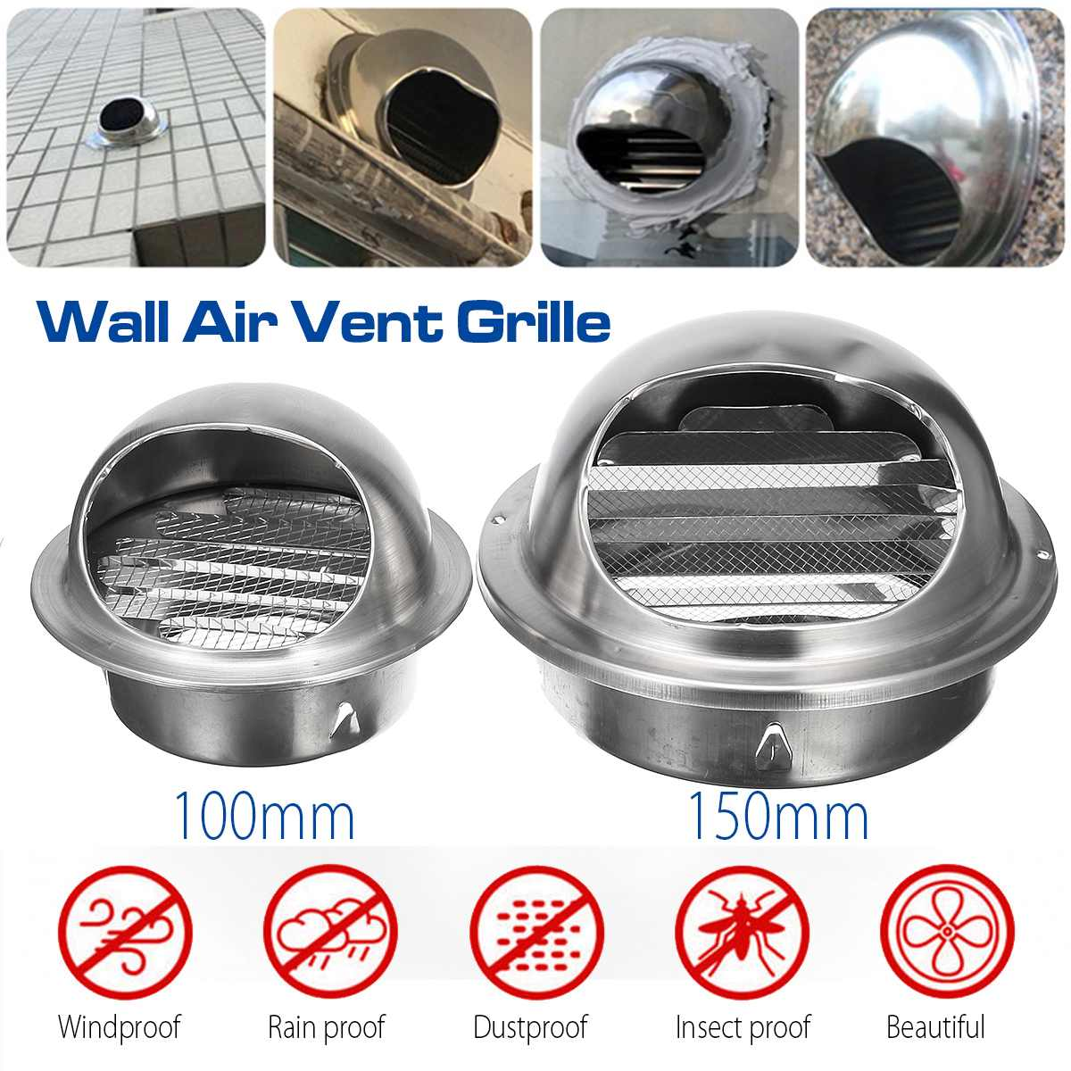 100/150mm Stainless Steel Wall Ceiling Air Vent Ducting Ventilation Exhaust Grille Cover Outlet Heating Cooling & Vents Cap