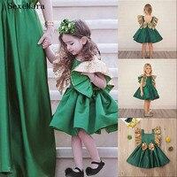Green Little Girls Birthday Dresses Gold Sequis Toddler Kids Clothes Infant Glitz Birthday Mother Daughter Dress