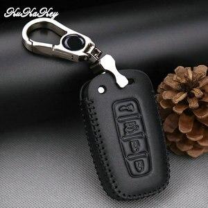 Image 4 - Etui clés de voiture en cuir pour Hyundai Long mouvement IX35 Sonata 8 pour Kia Chi Ran K2 Furui Di k5 4 boutons coque de clé à distance