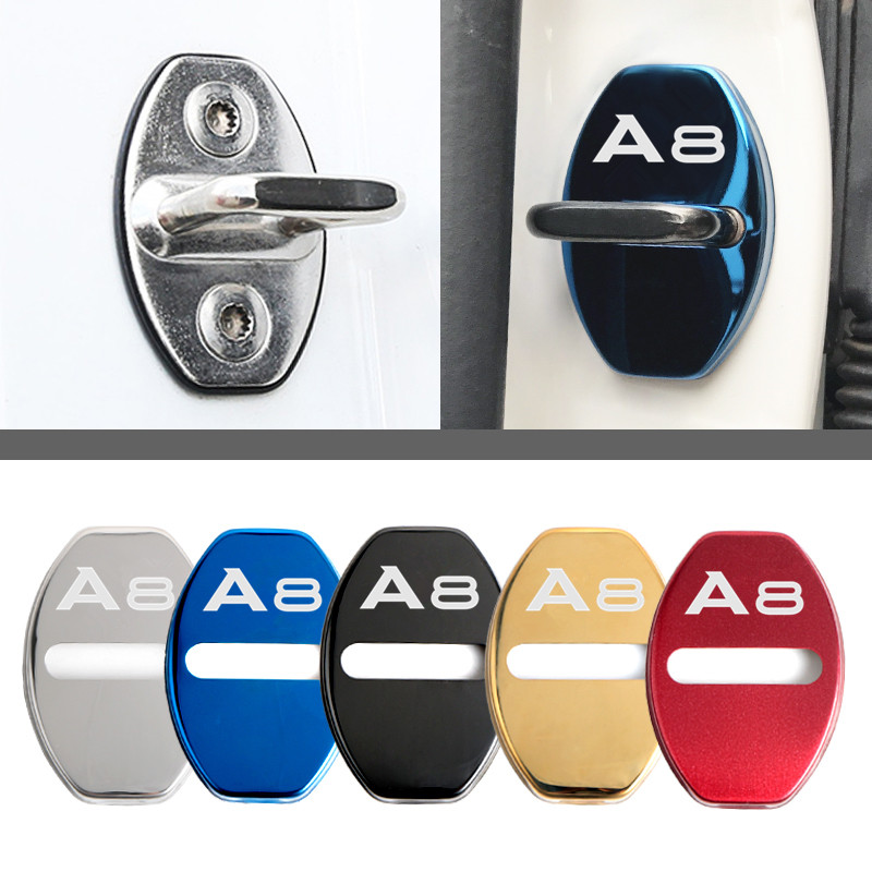 Door Lock Decoration Protection Cover emblem case for <font><b>Audi</b></font> <font><b>A8</b></font> d2 <font><b>d3</b></font> <font><b>4e</b></font> d4 accessories Car Styling image