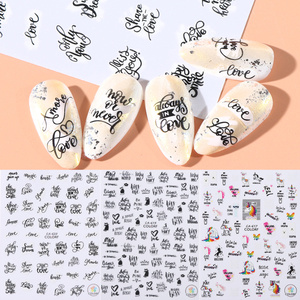 1pc Letter Stickers on Nails Flower Love Design 3D Adhesive Sliders Charm Nail Art Manicure Decorations Wraps Tips LACA617-626(China)