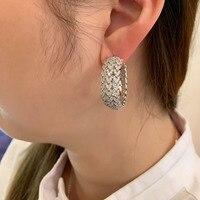 New Couture 925 Sterling Silver Mono Heart Wheat Ears Large Hoop Earring Cubic Zirconia Stones Women Fashion Jewelry ear rings