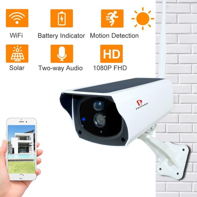 Pripaso 1080P WI FI Solar Camera HD Wireless IP67 Waterproof WiFi Exterior Security Surveillance CCTV IPcamera Two Way Audio Cam 2