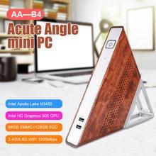 Ângulo agudo AA-B4 mini host ddr3 8gb ram 1600mhz 64gb emmc + 128gb ssd portátil suporte para computador 2.4g & 5g wifi 1000m porta rj45