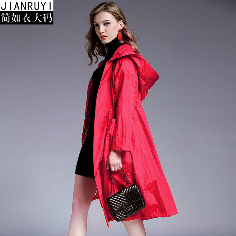 new Women Fashion Long Sleeve Hooded   Trench   Coat Plus Size false Two pieces long   trench   coat Lace splice casual loose   trench