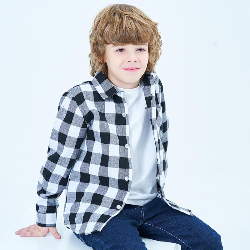 Boys Fashion Lattice-Design Shirts