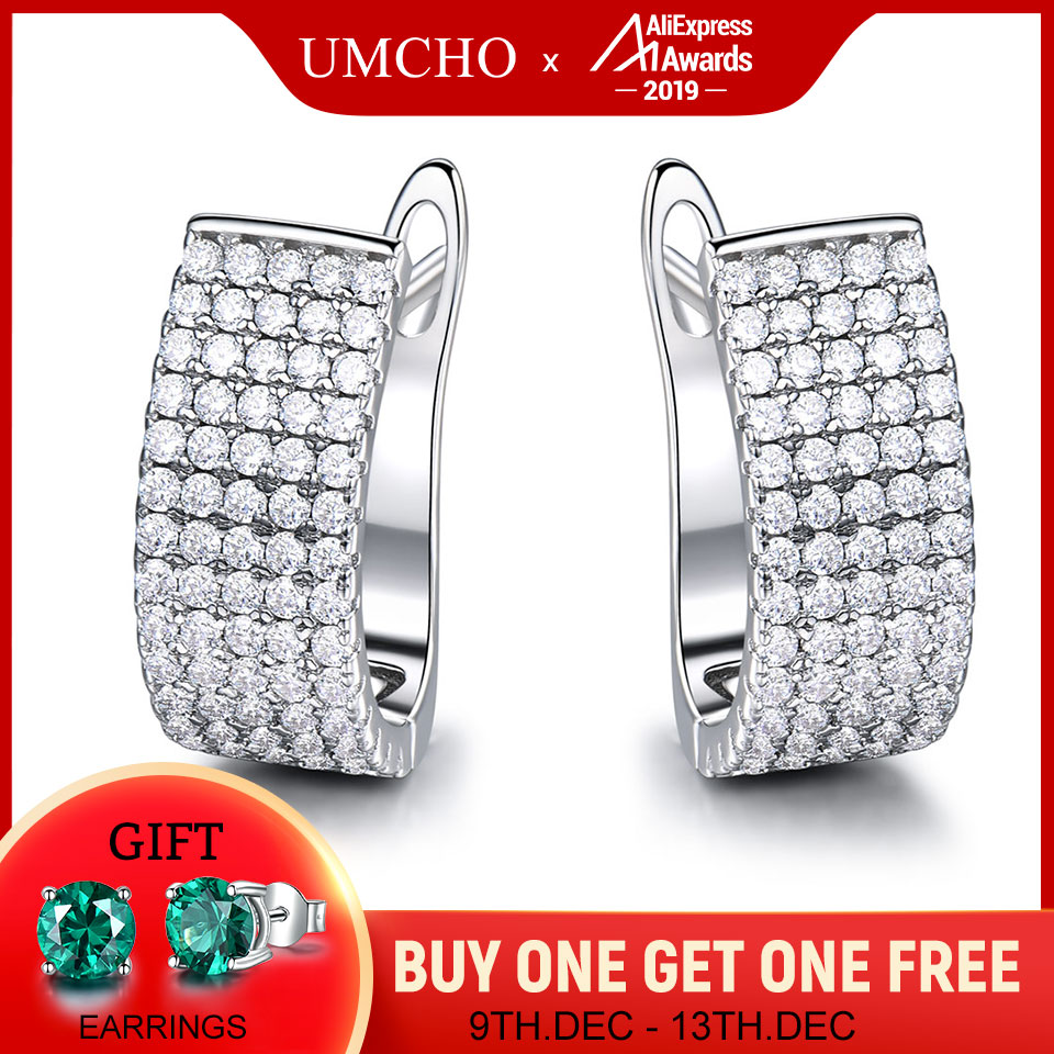 UMCHO Elegant Solid Silver 925 Jewelry Round Created Clear White CZ Clip Earrings For Women Birthday Gifts Charms Fine Jewelry