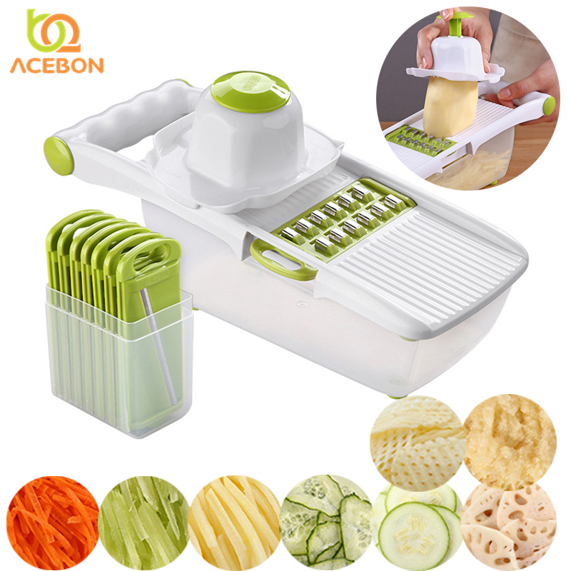 <font><b>8</b></font> <font><b>in</b></font> <font><b>1</b></font> <font><b>Multifunctional</b></font> Mandoline Slicer Vegetable Cutter With Stainless Steel Blade Potato Peeler Carrot Grater <font><b>Kitchen</b></font> <font><b>Tools</b></font> image