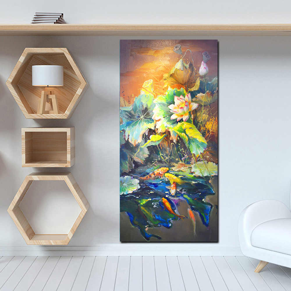 HD Print Chinese style Abstract Oil Painting Koi Fish Landscape  on Canvas Poster For Living Room Modern Decor Wall Art Picture
