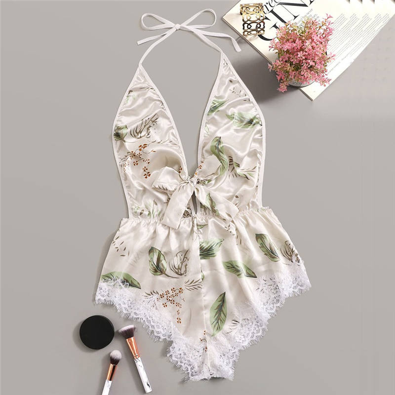 Lingerie Sexy Bra Siamese Set Women Printing Lace Stain Bow Lingerie Bodysuit Backless Pajamas Jumpsuit Sets Lenceria 661BRS10(China)