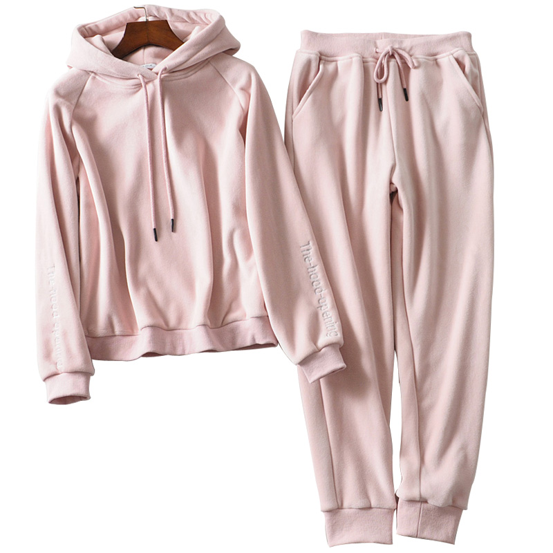 Jvzkass 2019 New Thick Velvet Sports Suit Two-piece Female Hooded Embroidery Sweatshirt + Casual Pants To Keep Warm Z332