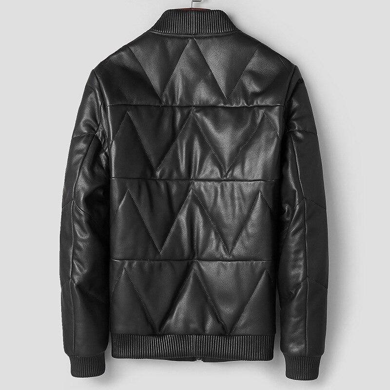 Leather Jacket Men Duck Down Jacket Winter 2020 Men Genuine Sheepskin Coat Baseball Jacket Chaqueta Hombre 81T0066 YY270