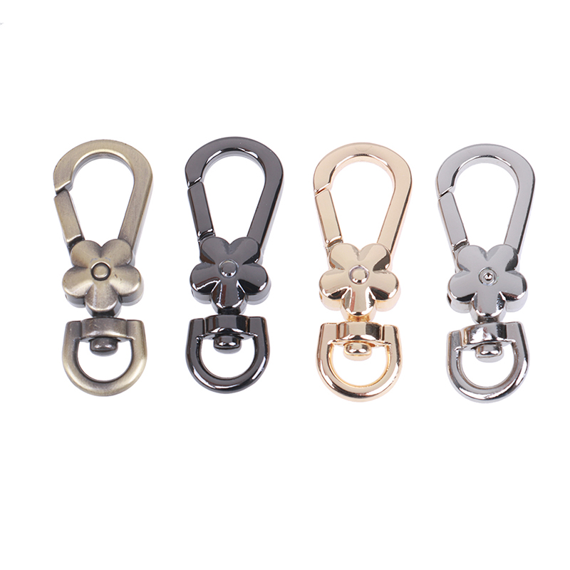 Metal Clasps Swivel Trigger Clips Snap Hooks Handbags Clasps Handle Flower Lobster Bag Key Rings Keychains Bag Accessories