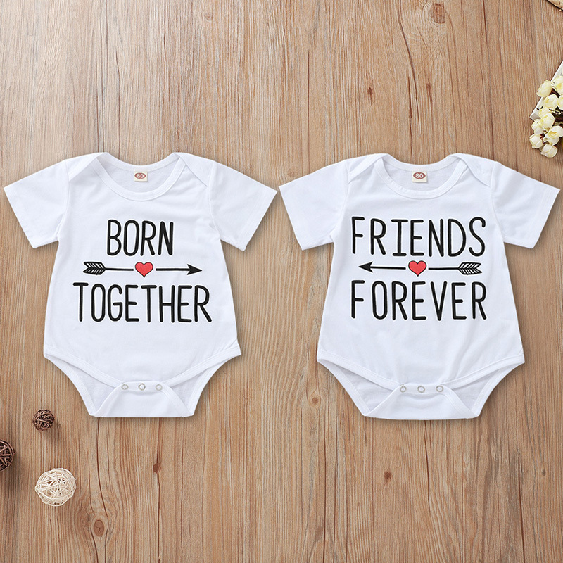 Tiny Cottons Baby Bodysuits For Unisex Born Together Friends Forever Letters Print Short Sleeve White Onesie Twin Baby Clothes