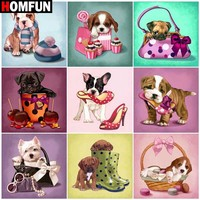 "HOMFUN Paint With Diamond Embroidery ""Pet dog animal"" Diamond Painting Full Square Round Picture Of Rhinestone Decor"