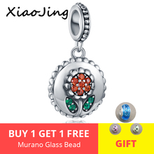 New arrival Sunflower Charm for Women 925 Sterling Silver Clear CZ Leaf Beads Fit Original Pandora Bracelet DIY Jewelry gift