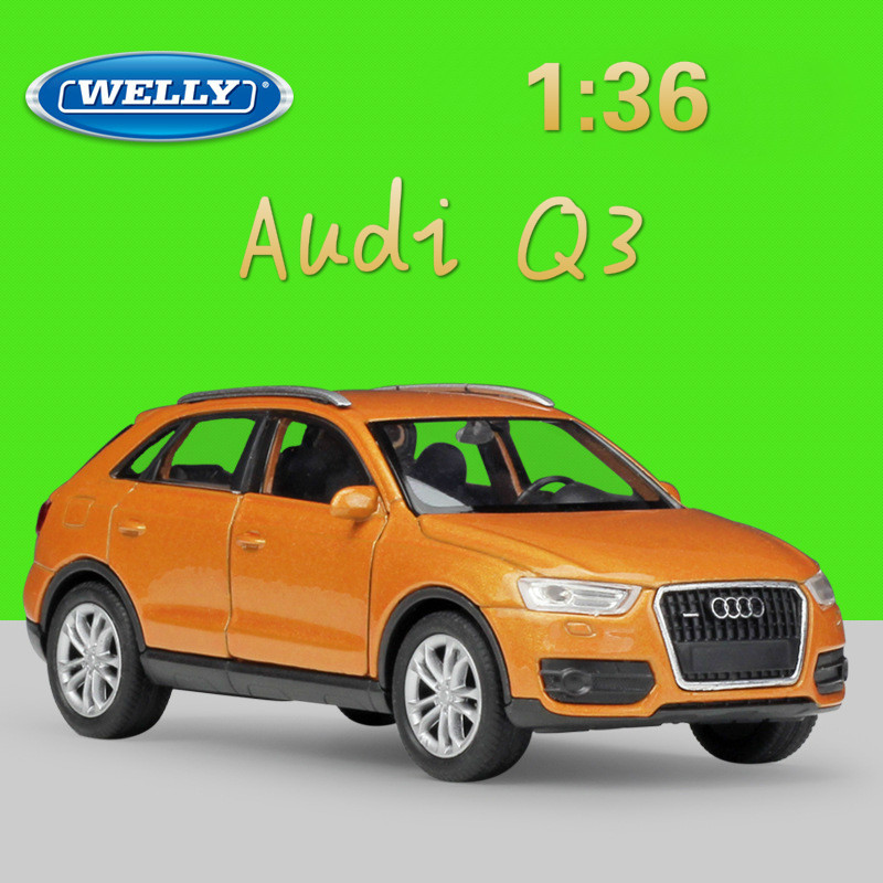 WELLY 1:36 Real Life Metal Model Toy Car Audi Q3 SUV Classic Alloy Diecast Vehicle Pull Back Cars Toys Collection For Kids Gift