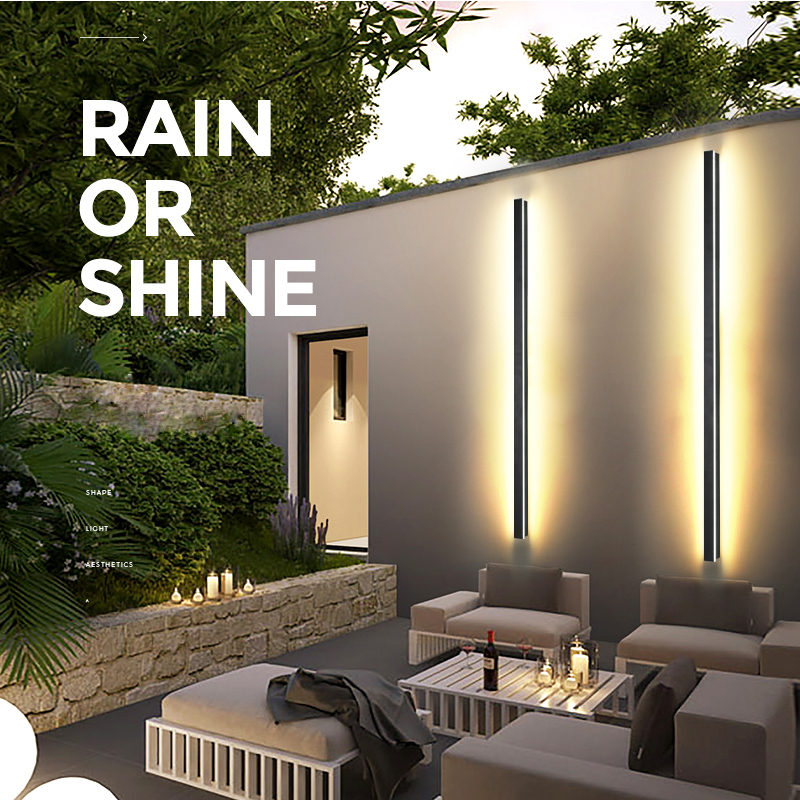 Modern Waterproof Outdoor Long Strip LED Wall Lamp IP65 Aluminum Wall Light Garden Porch Sconce Light 110V 220V Sconce Luminaire
