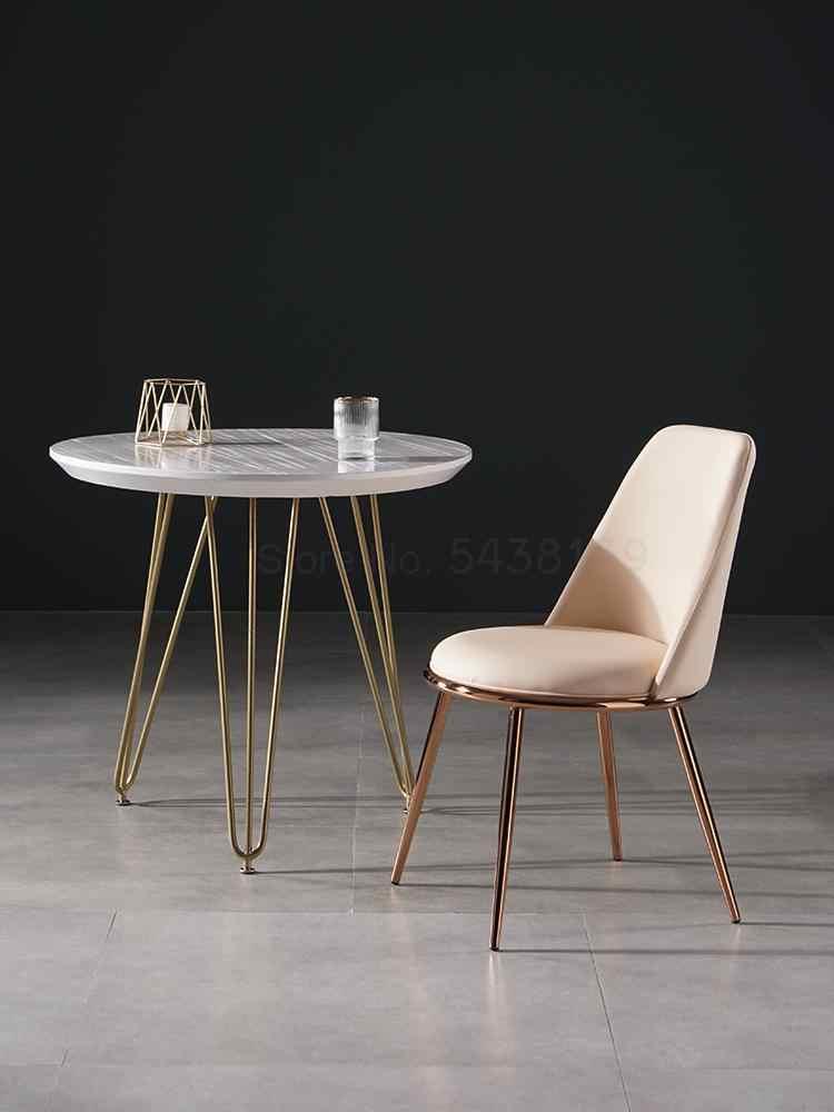 Taburete nórdico para salón de uñas, silla de cuero con respaldo, silla de maquillaje sencilla, silla de red roja ligera ins, silla de comedor de lujo