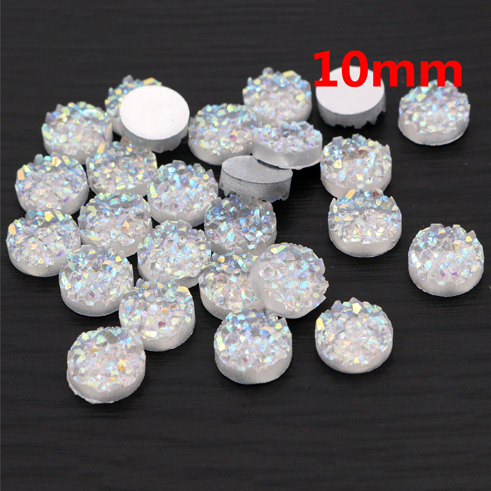 New Fashion 10mm 40pcs Transparent Colors Natural Ore Style Flat Back Resin Cabochons For Bracelet Earrings Accessories-T3-02