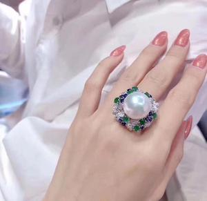 Image 3 - D113 Fine Pearl แหวนเครื่องประดับ 925 เงินสเตอร์ลิงธรรมชาติสดน้ำ 15 14mm สีขาว Peals แหวน fine ไข่มุกแหวน