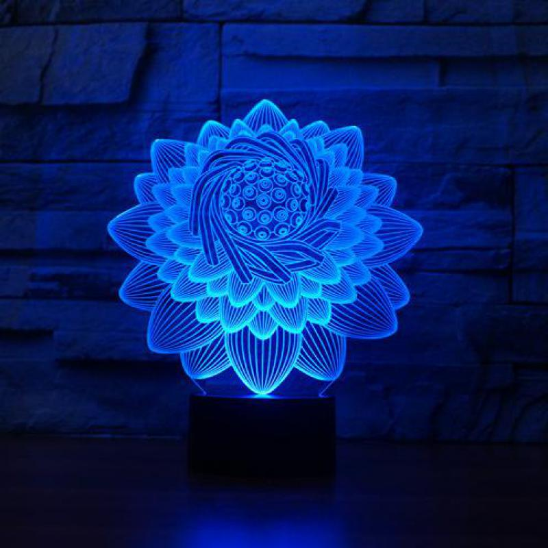Lotus 3d Lamp Deco Chambre Desk Lamp Lamparas De Mesa 3d Led Night Light Lotus Flower 3d Led Light Buddha Symbol