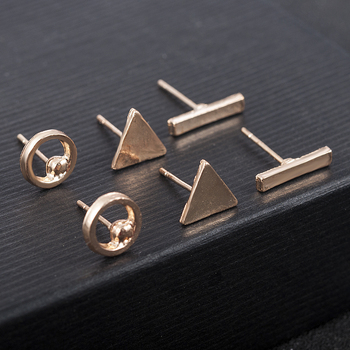 2020 fashion Trendy jewelry accessories 3pcs/Set Women Simple Alloy Cubic round Triangl Geometric Shaped Stud Earrings Gold 2