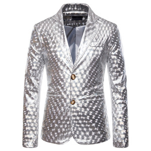 Image 5 - Shiny Gold Glitter Prom Suits&Blazer Men 2019 Brand New Slim Fit Notched Lapel Stylish Jacket Club Party Stage Clothing for Male