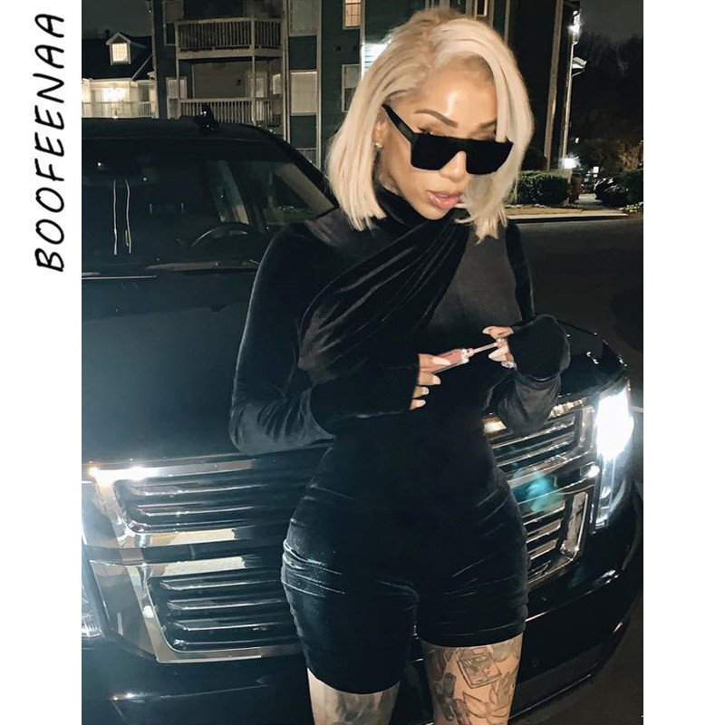 BOOFEENAA Black Velvet Turtleneck Long Sleeve Bodycon Rompers Womens Jumpsuit Winter Fashion Sexy One Piece Club Outfits C70AF47