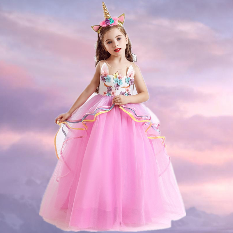 Fancy Flower Girl Long Gown for Princess Party Dress Children Formal Clothes Kids Dresses for Girls Wedding Evening Clothing 1