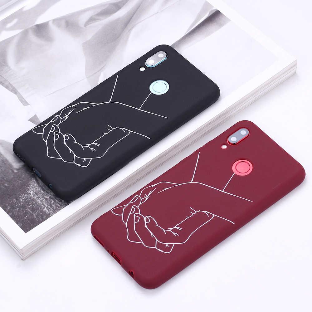 لسامسونج S8 S9 S10 S10e زائد نوت 8 9 10 A7 A8 عاشق اليد خط قلوب بسيط سيليكون غطاء إطار هاتف محمول كابا Fundas