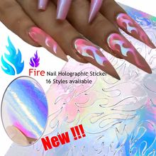 16 Styles Holographic Fire Flame Hollow Stickers Fires Thin Laser Silver Stripe Nail Art Stickers(China)