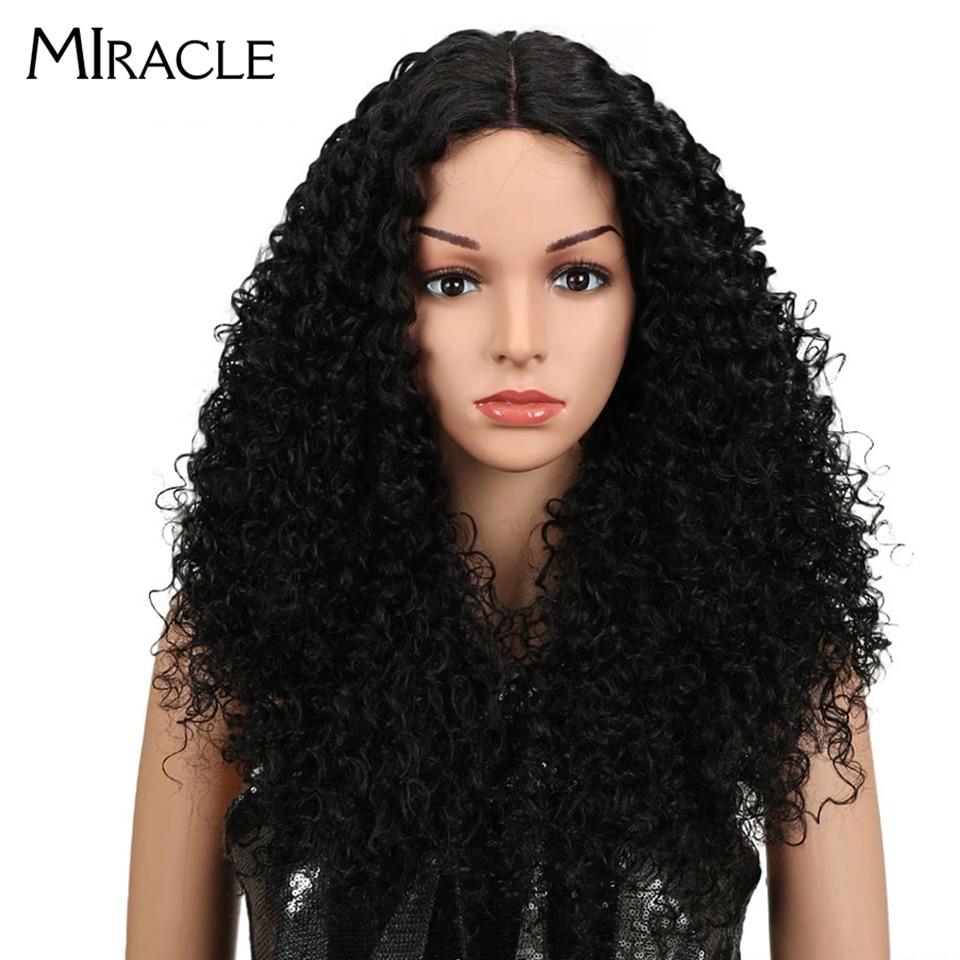 Miracle Hair crépus bouclés synthétiques dentelle avant perruques pour les femmes noires Afro crépus bouclés perruque 26