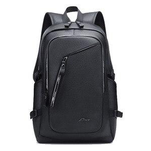 Image 1 - בציר 15.6 עור תרמיל מחשב נייד גברים של שחור Bagpack בחזרה חבילות ציקי לגברים עור המוצ ילה תרמיל
