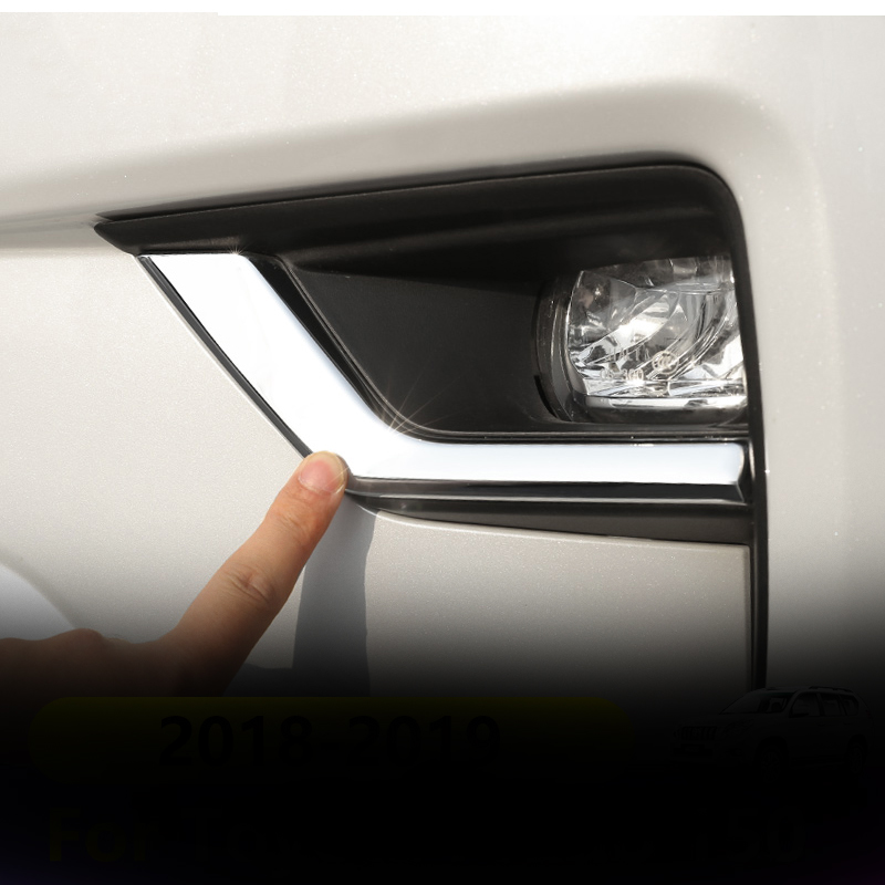 For Toyota Prado FJ150 ABS Chrome Front Fog Light Lamp Cover Trim 2pcs 2018-2019
