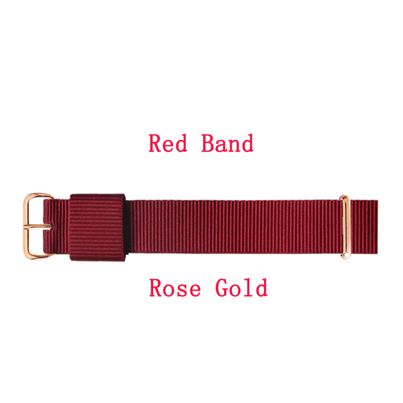 JH Hight Quality Nylon Watchband For 18mm 20mm Men Women  Strap Black Red Colorful Bands