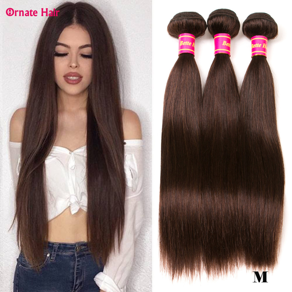 Pre-Colored Straight Hair Bundles Brazilian Hair Weave Bundles 100% Human Hair Bundles Weave Non-Remy Middle Ratio 2#
