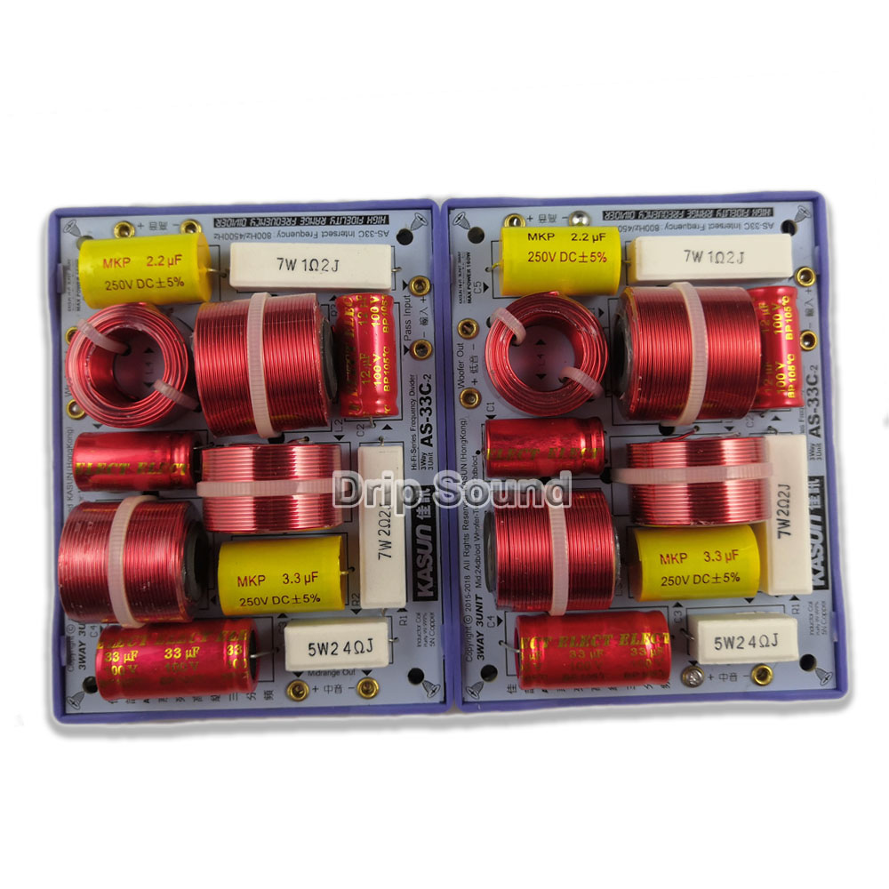 2pcs KASUN AS-33C 3 Way 3 Unit 160W Hi-Fi Audio Speaker Frequency Divider Crossover Filters