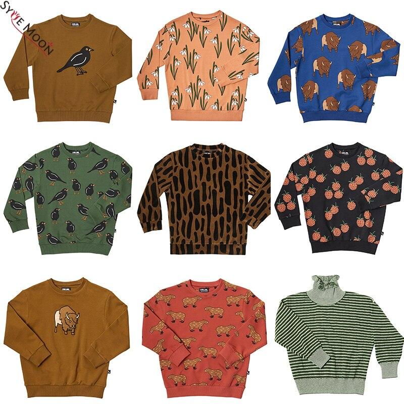 Anne ve Çocuk'ten Kapşonlu ve Kapşonsuz Svetşörtler'de Çocuk kazak 2019 CarlijnQ marka yeni sonbahar kış erkek kız kuş baskı tişörtü bebek çocuk moda dış giyim Tops title=