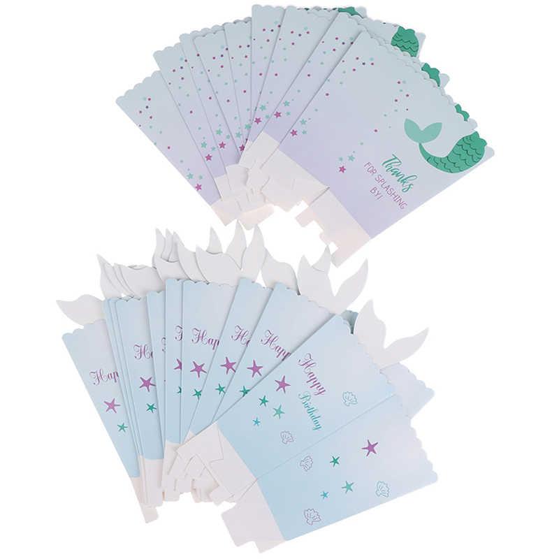 12 قطعة حورية البحر الذيل تحت البحر الفشار صناديق حفلة Favors صناديق هدية كاندي حقيبة صندوق عيد ميلاد استحمام الطفل الجدول لوازم