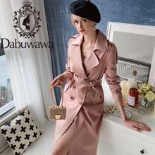 Trench-Coat Dabuwawa Spring Female Elegant Fashion Women Solid Straight Long DT1CTC005